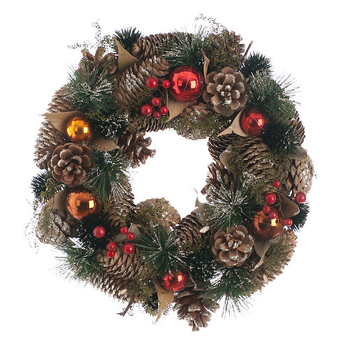 FESTIVE Red and Copper Ball Wreath