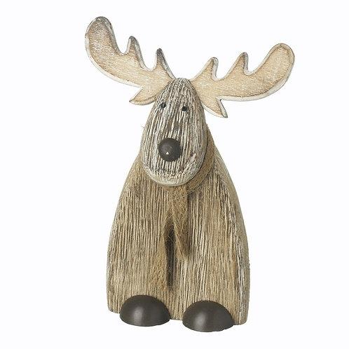 HEAVEN SEND Small Wooden Sitting Deer