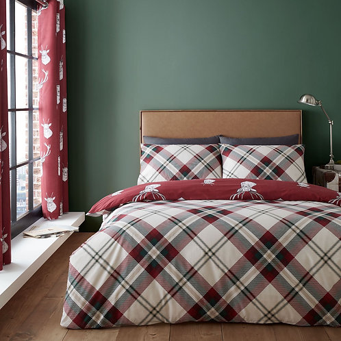 CATHERINE LANSFIELD Munro Stag Check Double Duvet Cover