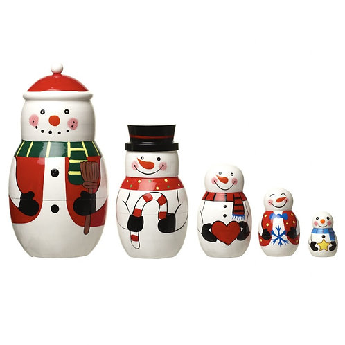 HEAVEN SENDS Wooden Nesting Snowman Set