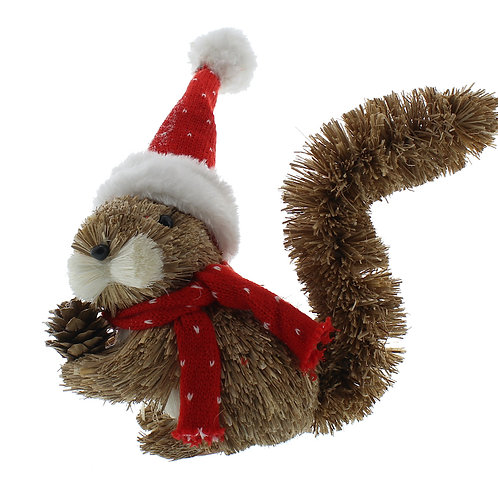 FESTIVE Bristle Squirrel With Santa Hat