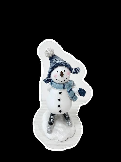 BLUE CHRISTMAS Small Skating Snowman