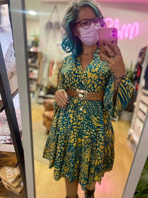 Vestido Print aguamarina y amarillo