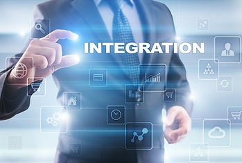 Businessman selecting integration on vir