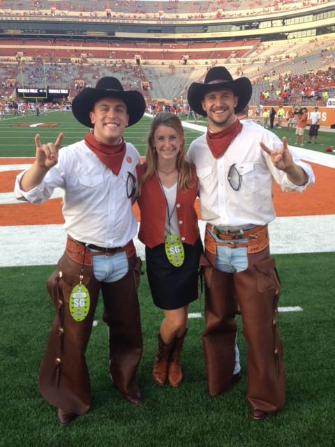Holland on the football field with Texas Cowboys