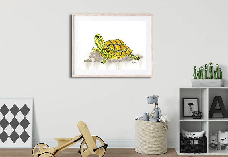 """""""The Littlest Turtle"""" ~ Watercolor Painting Archival Print on Fine Art Paper"""