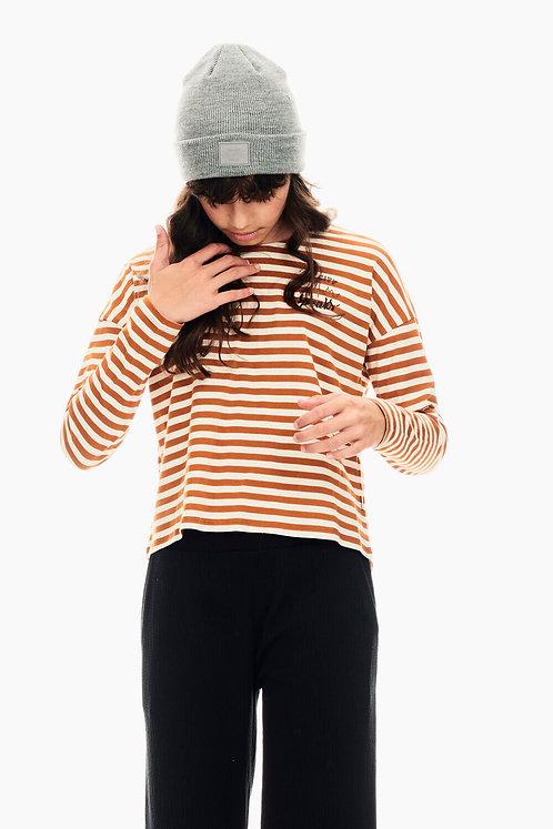 T-Shirt Rayé Marron Et Blanc Garcia