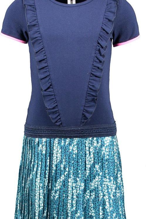 Robe bleu océan avec jupe plissée B.Nosy