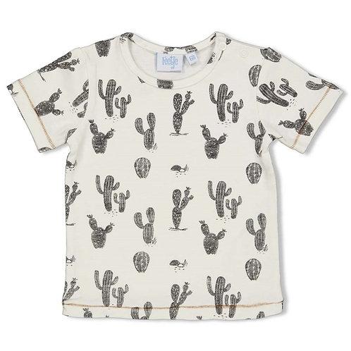 T-Shirt écru + cactus Feetje