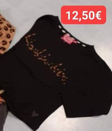 Tshirt Jubel noir print léopard
