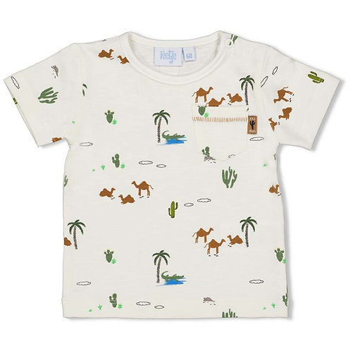 T-Shirt écru + chameaux Feetje