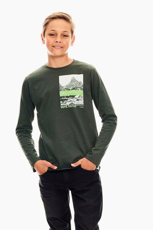 T-Shirt À Manches Longues Vert Garcia