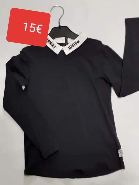 Tshirt Garcia noir ,col blanc