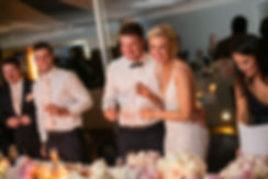 Bride and groom at the wedding reception venue at Catalina, Rose Bay. Wedding photography by best sydney wedding photographer, Grant Hoskinson Photography.