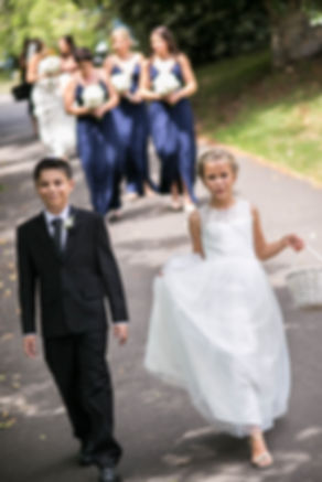 Beautiful wedding photography by best Sydney wedding photographer, Grant Hoskinson Photography. Flower girl and page boy at wedding ceremony.