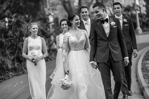 Bride and groom on location photos with bridal party. Wedding photgraphy by Sydney wedding photographer Grant Hoskinson Photography.