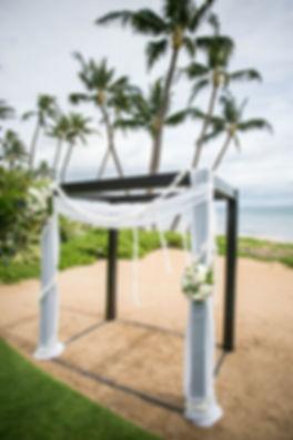 Sydney wedding photographer. Grant Hoskinson Photography. Wedding ceremony setup at Sugar Beach Events, Maui, Hawaii.