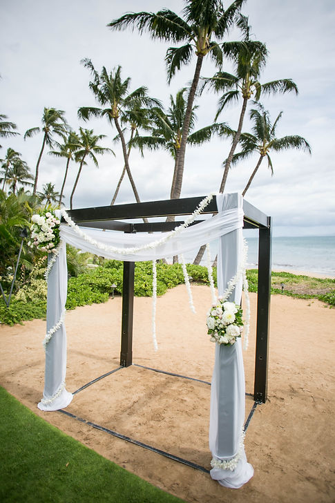 Sydney wedding photographer. Grant Hoskinson Photography. Wedding ceremony setup at Sugar Beach Events, Maui, Hawaii.