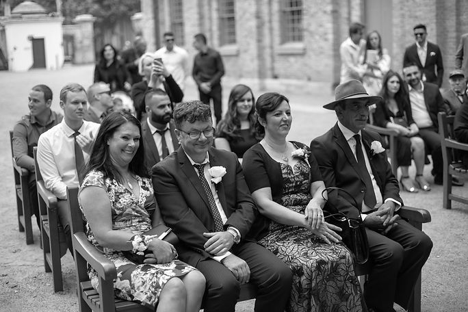 Parents of the bride during wedding ceremony at Hyde Park Barracks. Wedding photography by best sydney wedding photographer, Grant Hoskinson Photography.