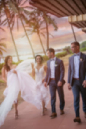 Bride and Groom with the bridal party in Maui, Hawaii for their destination wedding. Photography by Best Sydney wedding photographer Grant Hoskinson Photography.