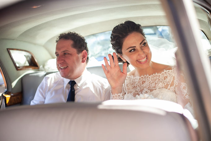 Bride in the wedding car arriving at greek church. Wedding photography by best sydney wedding photographer, Grant Hoskinson Photography.