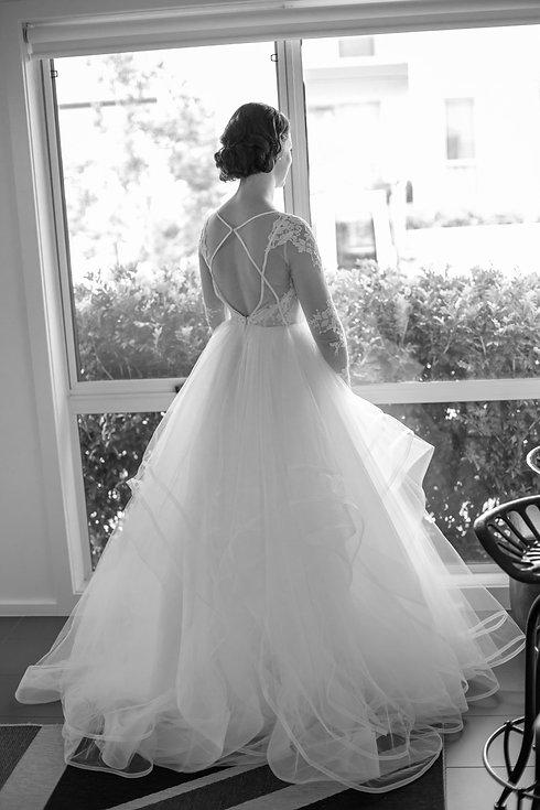 Back of the bride's dress. Wedding photography by best sydney wedding photographer, Grant Hoskinson Photography.