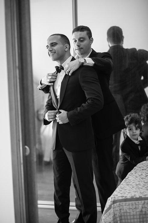 Groom getting ready. Wedding photography by best Sydney wedding photographer, Grant Hoskinson Photography. Bride's gown by Steven Khalil. Wedding Reception at Doltone House Jones Bay Wharf.