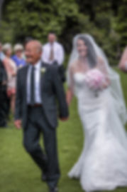 Father of the bride walking the bride down the aisle. Beautiful wedding photography by popular wedding photographer, Grant Hoskinson Photography.