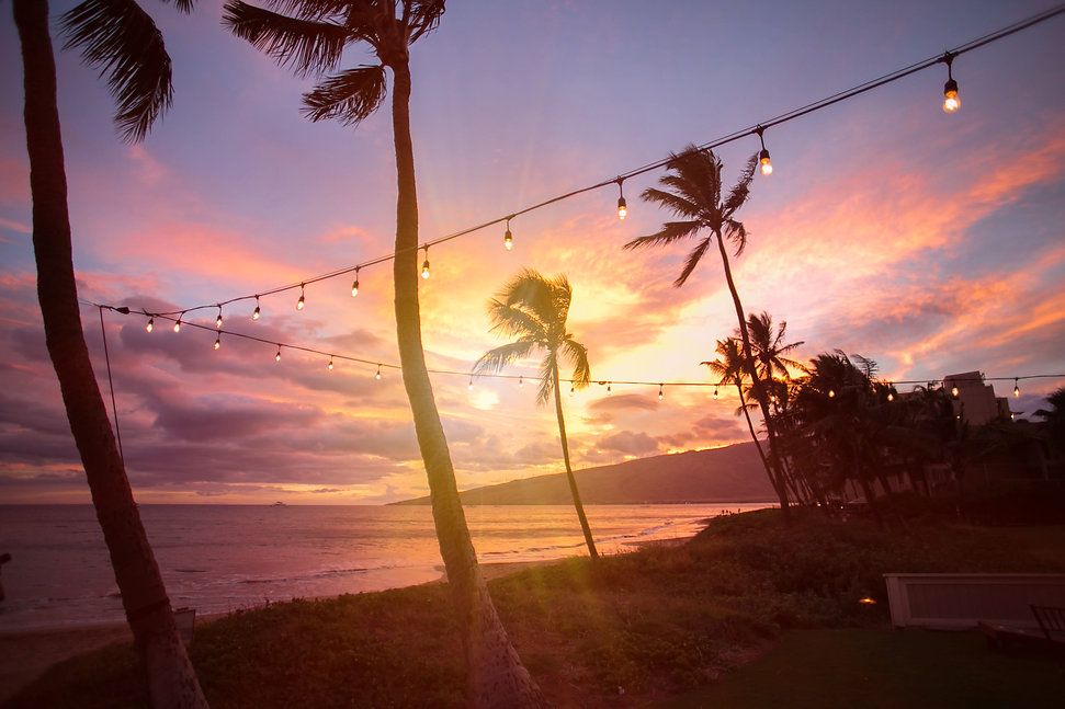 Maui sunset. Wedding reception. Sugar Beach Events. Maui, Hawaii.