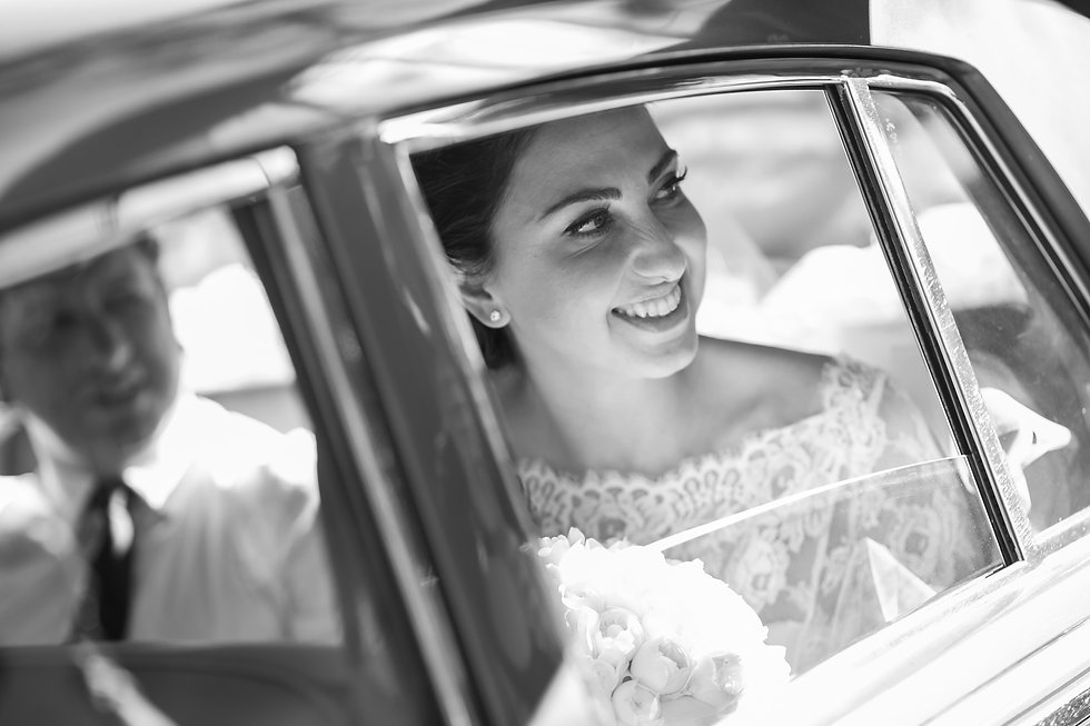 Bride arriving at the Cathedral of the Annunciation of Our Lady Greek church, Redfern, Sydney. Wedding photography by best sydney wedding photographer, Grant Hoskinson Photography.