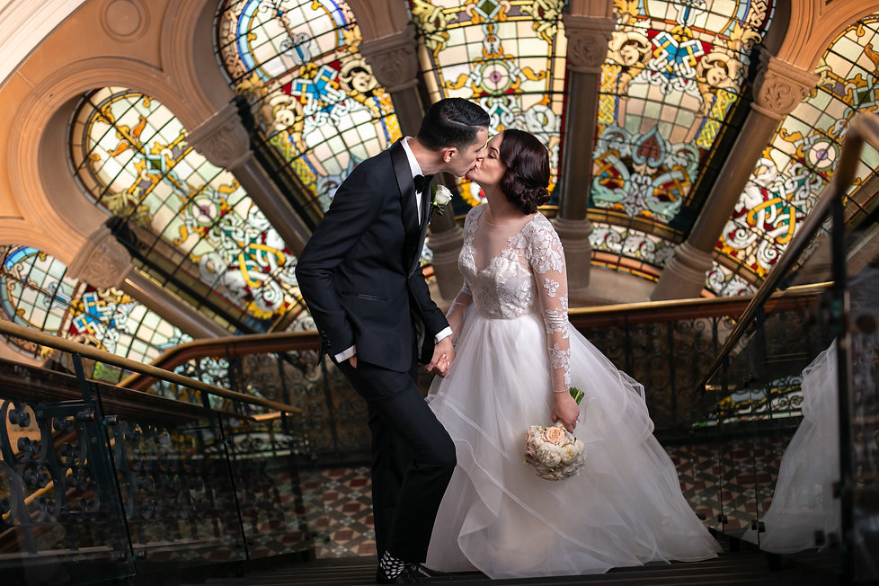 Bride and groom on location in QVB Queen Victoria Building, Sydney. Wedding photography by best sydney wedding photographer, Grant Hoskinson Photography.