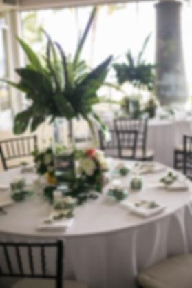 Wedding reception. Sugar Beach Events. Maui, Hawaii. Table flowers and centre piece. Wedding reception.