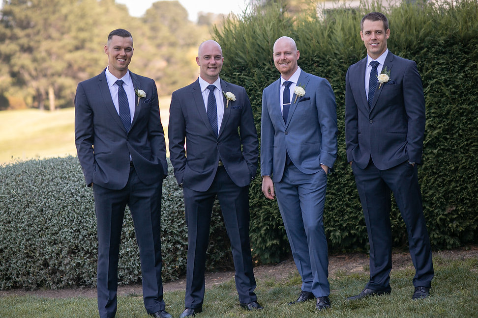 Groom with groomsmen before the ceremony at Gibraltar Hotel, Bowral. Wedding photography by best sydney wedding photographer, Grant Hoskinson Photography.