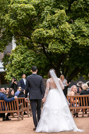 Bride walking down the aisle. Wedding photography by best sydney wedding photographer, Grant Hoskinson Photography.
