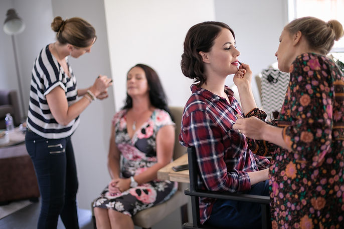 Bride getting her hair and makeup done. Wedding Dress. Wedding photography by best sydney wedding photographer, Grant Hoskinson Photography.