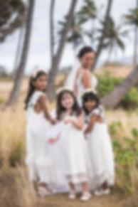 Bride and flower girls. location photos. Maui, Hawaii.