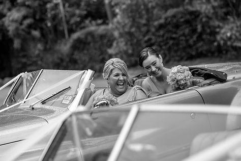 Beautiful wedding photography by popular wedding photographer, Grant Hoskinson Photography. Bridesmaids in weddin car. Groom with groomsmen.  Royal Botanic Gardens, Melbourne.