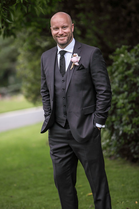 Beautiful wedding photography by popular wedding photographer, Grant Hoskinson Photography. Grooms portrait. Royal Botanic Gardens, Melbourne.