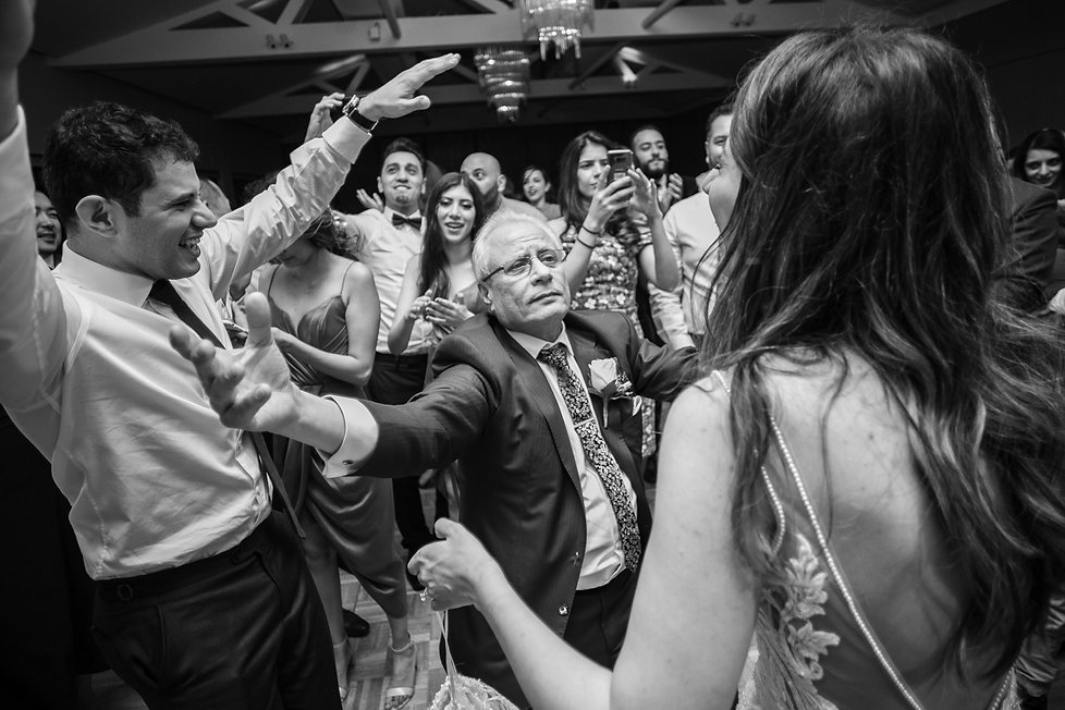 Father of the bride dancing with the bride. Wedding reception at Sergeants Mess. Photography by best Sydney wedding photographer Grant Hoskinson Photography.