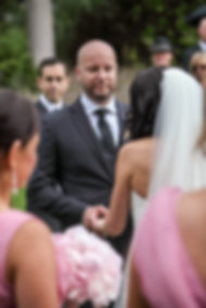 Beautiful wedding photography by popular wedding photographer, Grant Hoskinson Photography. Groom during the wedding ceremony.Groom with groomsmen.  Royal Botanic Gardens, Melbourne.