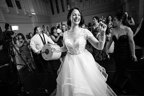 Bride dancing. Wedding reception. QVB Tea Room. Wedding photgraphy by Sydney wedding photographer Grant Hoskinson Photography.