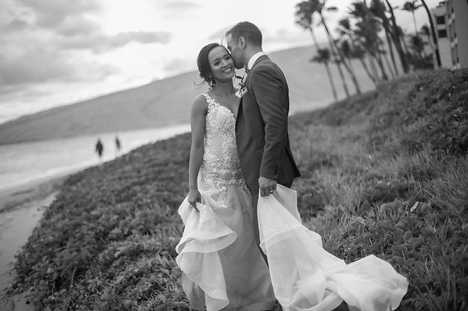 Wedding reception. Sugar Beach Events. Maui, Hawaii. Bride and groom on the beach. Sugar Beach Events. Maui, Hawaii.