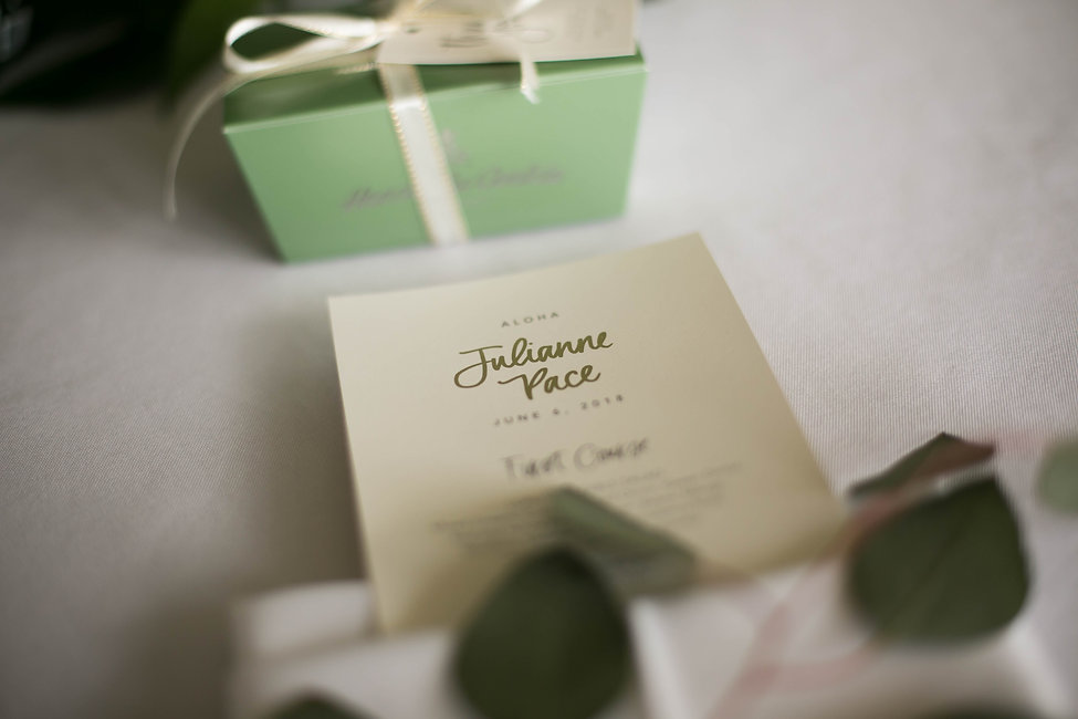 Place card. Name card. Wedding reception. Sugar Beach Events. Maui, Hawaii.