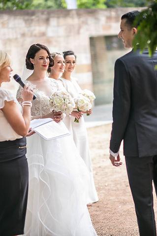 Bride during the wedding ceremony. Wedding photgraphy by Sydney wedding photographer Grant Hoskinson Photography.