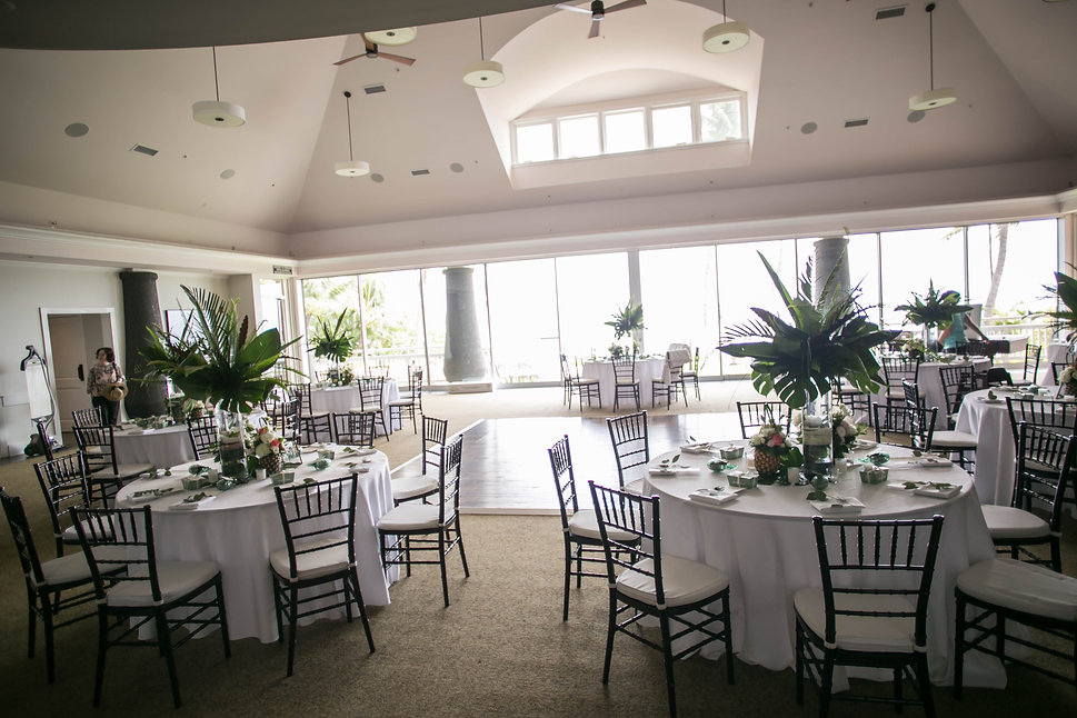 Dining room for wedding reception.Wedding reception. Sugar Beach Events. Maui, Hawaii.