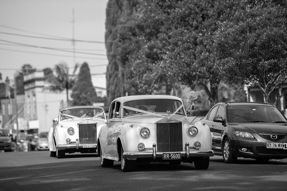 Wedding cars by Roll up in a Rolls. Wedding photography by best Sydney wedding photographer, Grant Hoskinson Photography. Bride's gown by Steven Khalil. Wedding Reception at Doltone House Jones Bay Wharf.