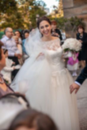 Bride outside the church. Greek wedding ceremony at the Cathedral of the Annunciation of Our Lady Greek church, Redfern, Sydney. Wedding photography by best sydney wedding photographer, Grant Hoskinson Photography.