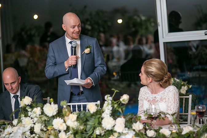 Grooms speech at wedding reception at Gibraltar Hotel, Bowral. Wedding photography by best sydney wedding photographer, Grant Hoskinson Photography.
