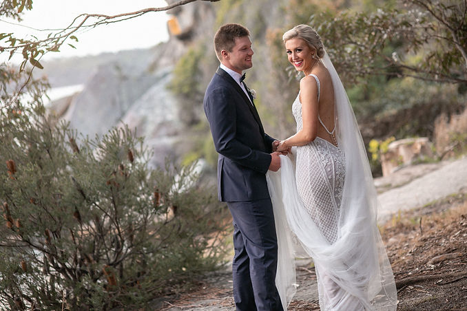Bride and groom on location photos at Camp Cove, Sydney Harbour. Wedding photography by best sydney wedding photographer, Grant Hoskinson Photography.