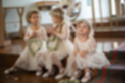 Flower girls at the wedding ceremony at HMAS Watson Chapel. Wedding photography by best Sydney wedding photographer, Grant Hoskinson Photography.